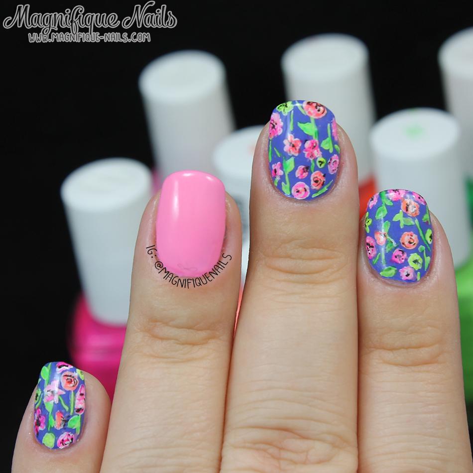 Magically Polished |Nail Art Blog|: Bright Florals Nails