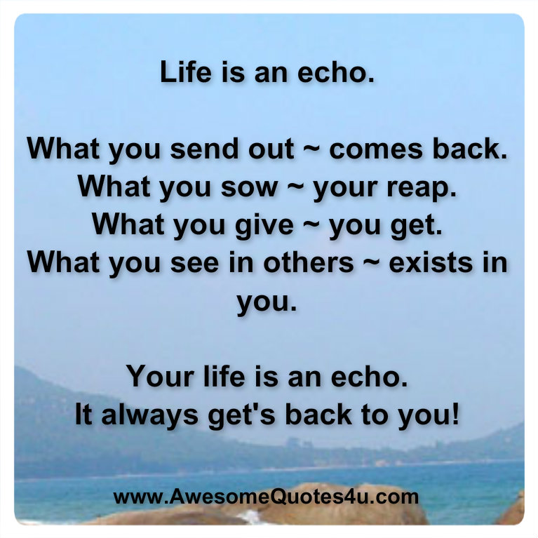 Life Is An Echo Quote Best Quotes Life 101Tumblr Lessons And Love Cover Photos Facebook