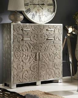 Mueble salon puertas y cajones plata