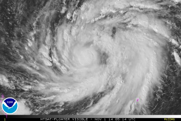 """TORMENTA """"NURI"""" - Imágen satélite 1 de Noviembre 2014"""