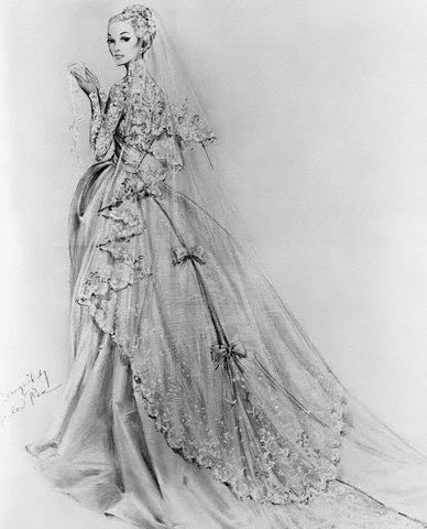 Grace Kelly Wedding Dress: Final Sketches for Grace\'s Wedding Gown