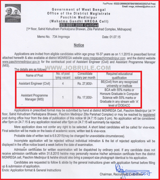 Paschim Medinipur MGNREGA Cell Latest Assistant Engineer (Civil) & MIS Recruitment Advertisement July 2015