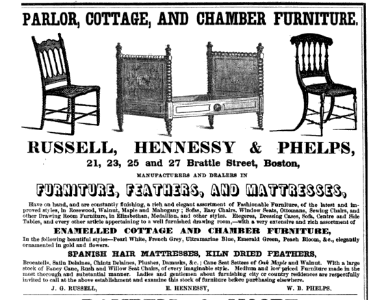 Parlor, Cottage And Chamber Furniture. Russell, Hennessy U0026 Phelps, 21, 23,  25 And 27 Brattle Street, Boston. Manufacturers And Dealers In Furniture,  ...