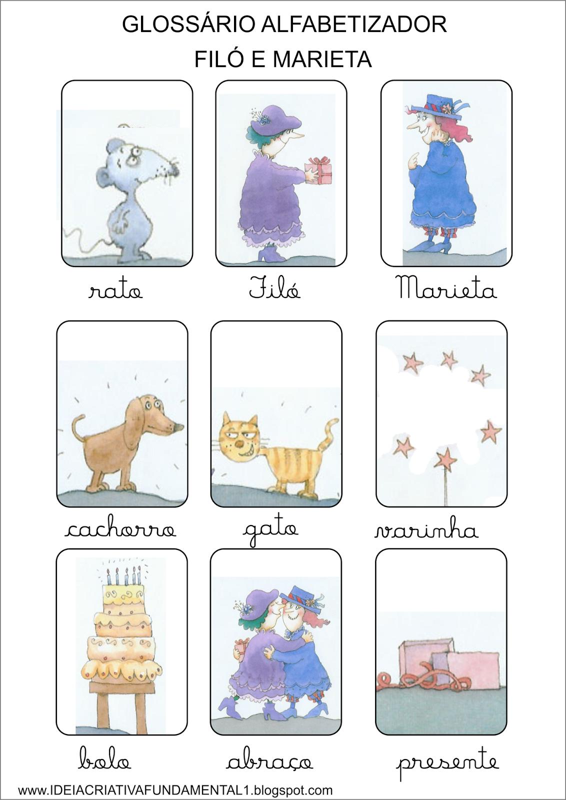 Glossário Alfabetizador livro Filó e Marieta de Eva Furnari