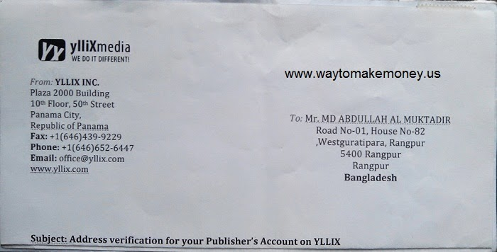 Letter from Yllix.com ,Address verification