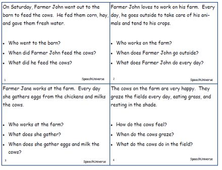 Printables Auditory Memory Worksheets december 2012speech universe 2012 the last activity is farm story retelling a short read to students and they are asked retell there no picture cues for these