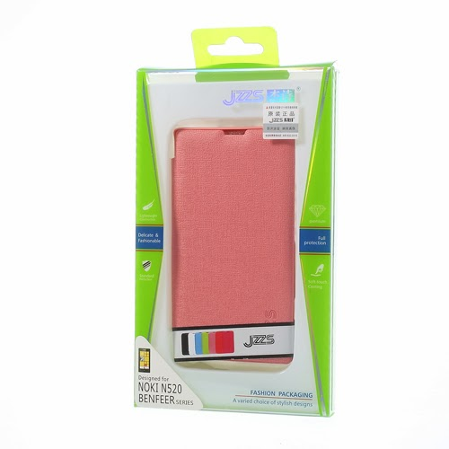 Oracle Grain Texture Slim Leather Flip Case for Nokia Lumia 520 525 - Baby Pink