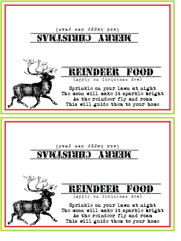 Reindeer Food Poem http://memyselfandu2.blogspot.com/2011/12/neighborhood-cheer-free-printables.html