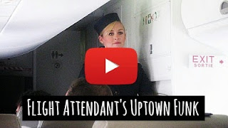 Watch Flight attendant dance to the tunes of Uptown funk by Bruno Mars and Mark Ronson via geniushowto.blogspot.com amazing music videos