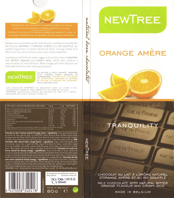 tablette de chocolat lait gourmand newtree orange amère tranquility