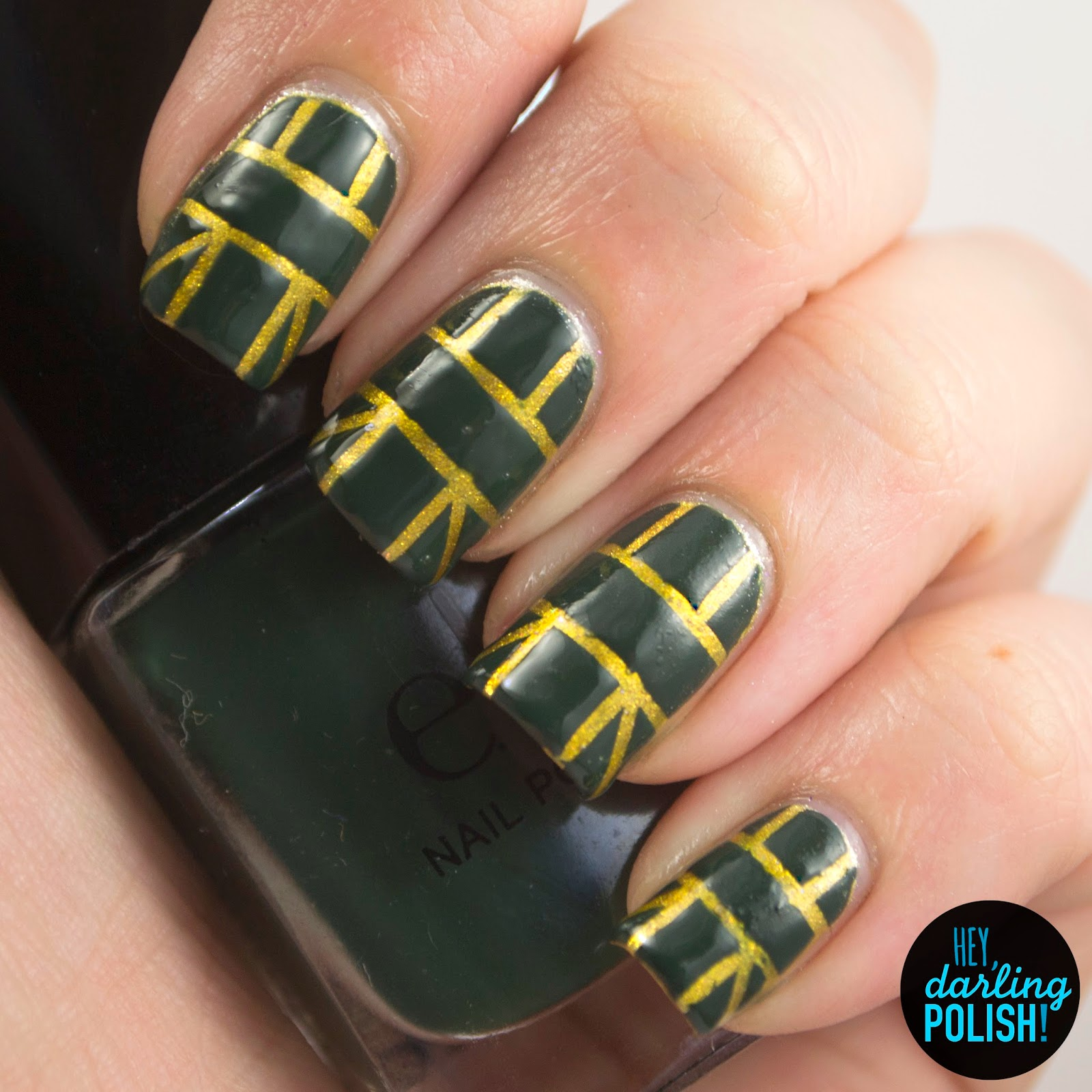 nails, nail art, nail polish, polish, emerald, gold, green, tape, hey darling polish, nail art ideas linkup