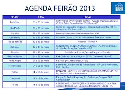 FEIRÃO DA CAIXA 2013- DATAS- CIDADES