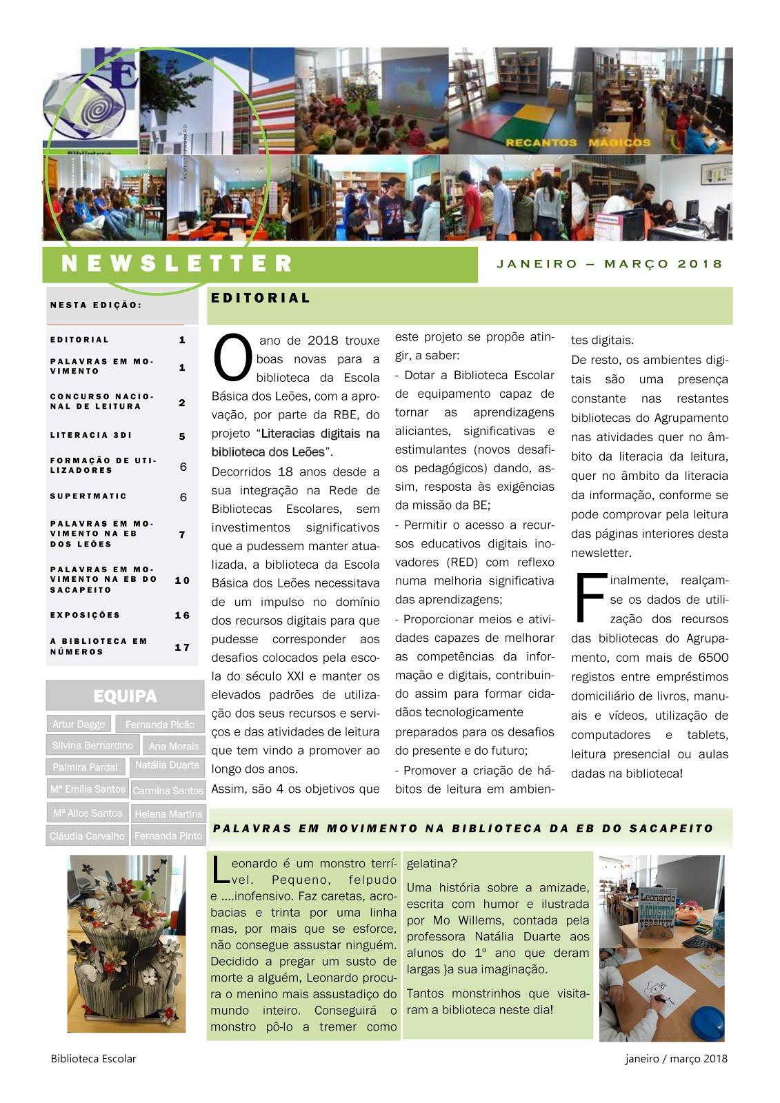 Newsletter BE JANEIRO - MARÇO 2018
