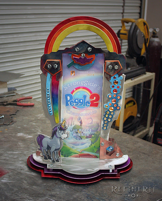 custom trophy with rainbow Peggle