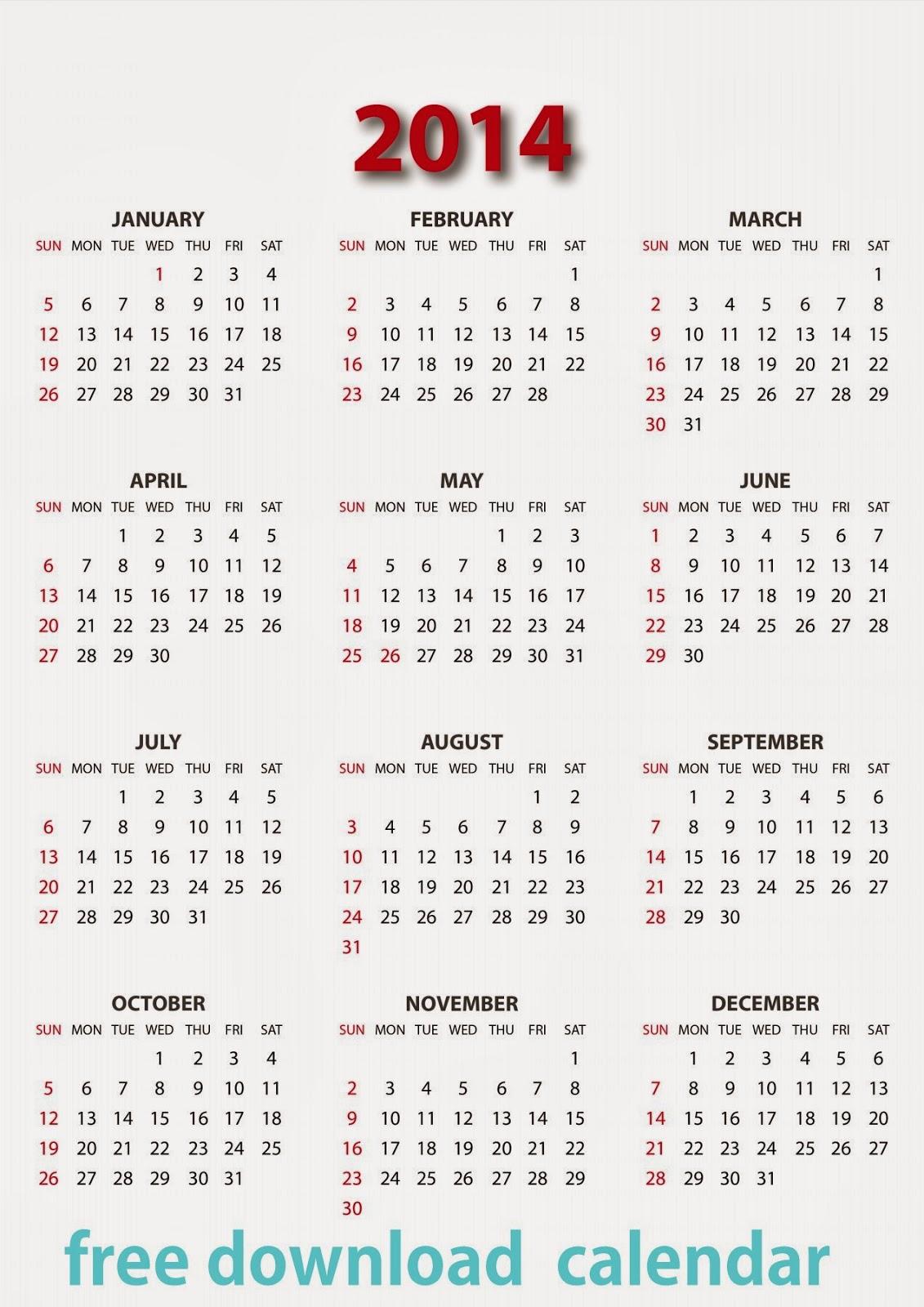 2014 Printable Calendar - Waterproof Paper