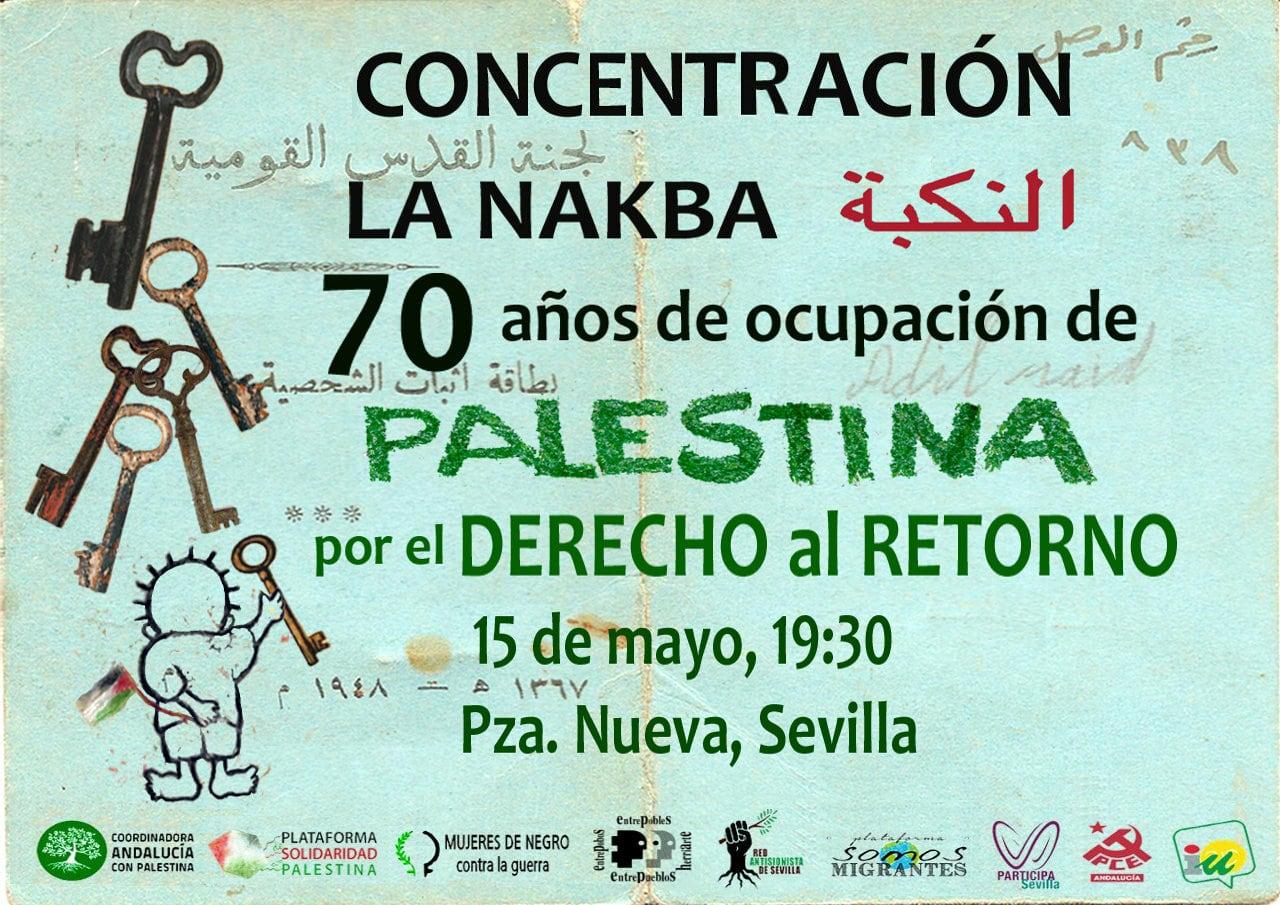 CONCENTRACIÓN. LA NAKBA. 70 años de ocupación de PALESTINA por el DERECHO al RETORNO.