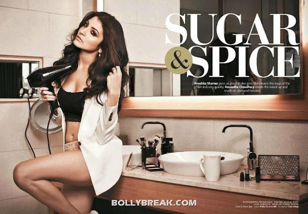 Anushka Sharma in Bikini in Kitchen Blow Drying her hair - Anushka Sharma Filmfare July 2012 Scans