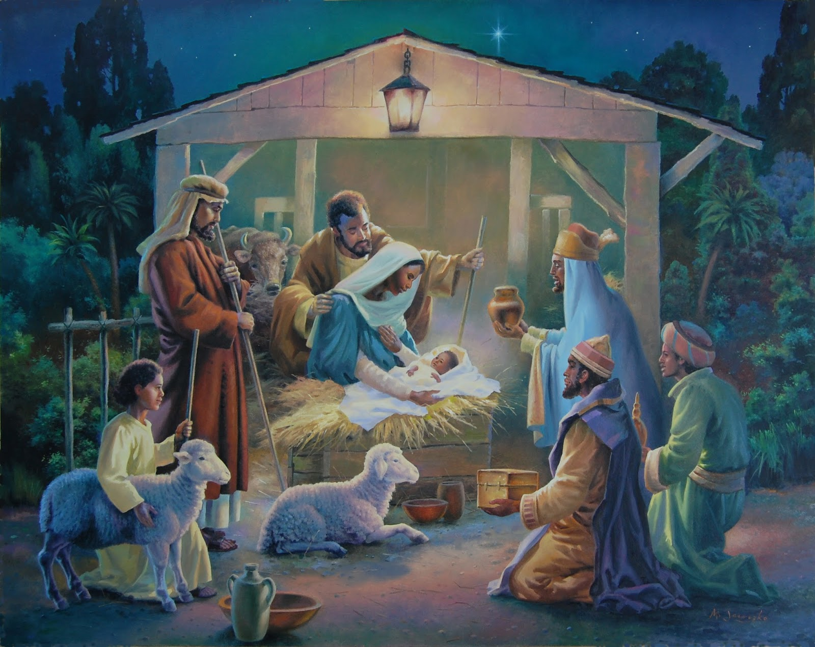 Nativity Scene Painting Nativity scene. painting