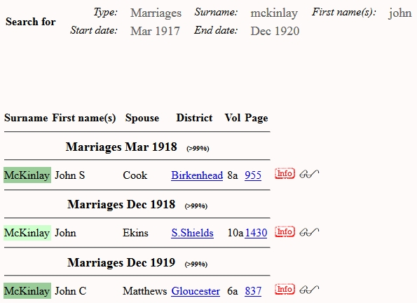FreeBMD.org search for marriages for John McKinlay between 1st quarter 1917 and 4th quarter 1920