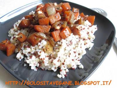 quinoa, bulgur, carote, cipolle, noci pecan, aglio, salvia, dragoncello, lievito alimentare in scaglie, Primi,