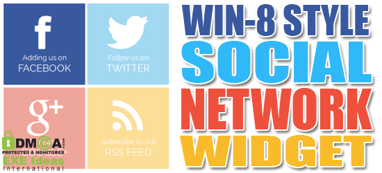 Win-8 Style Social Network Widget For Blogger And Website Sidebar