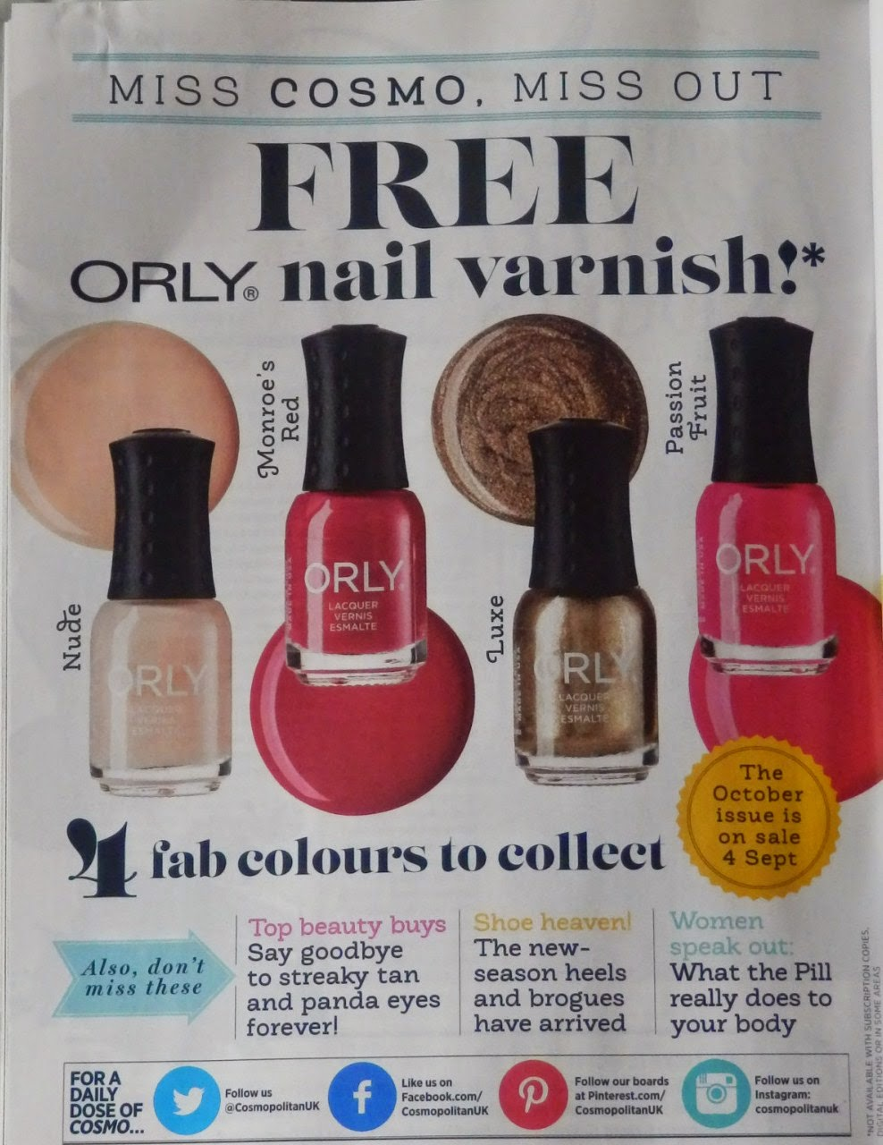 Cosmopolitan Magazine Freebie - Orly Nail Polish