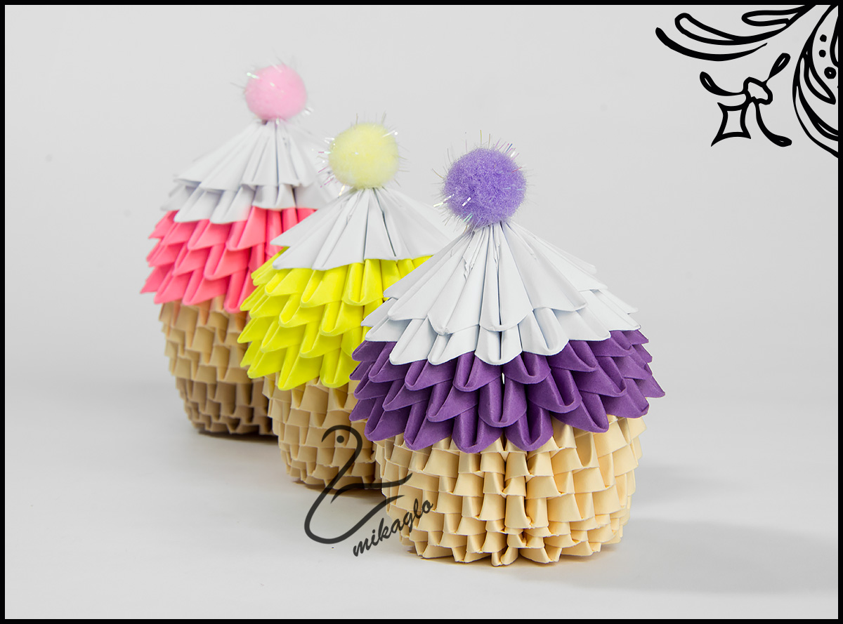 3d Origami Cupcake Part 2 YouTube