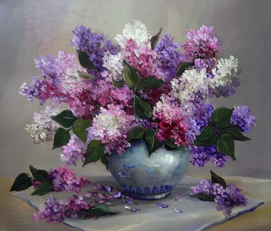 Cuadros modernos pinturas y dibujos pintura al leo - Fotos jarrones con flores ...
