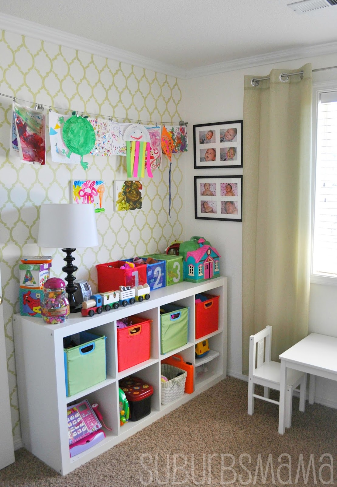 Suburbs mama play room guest room for Playroom living room combination
