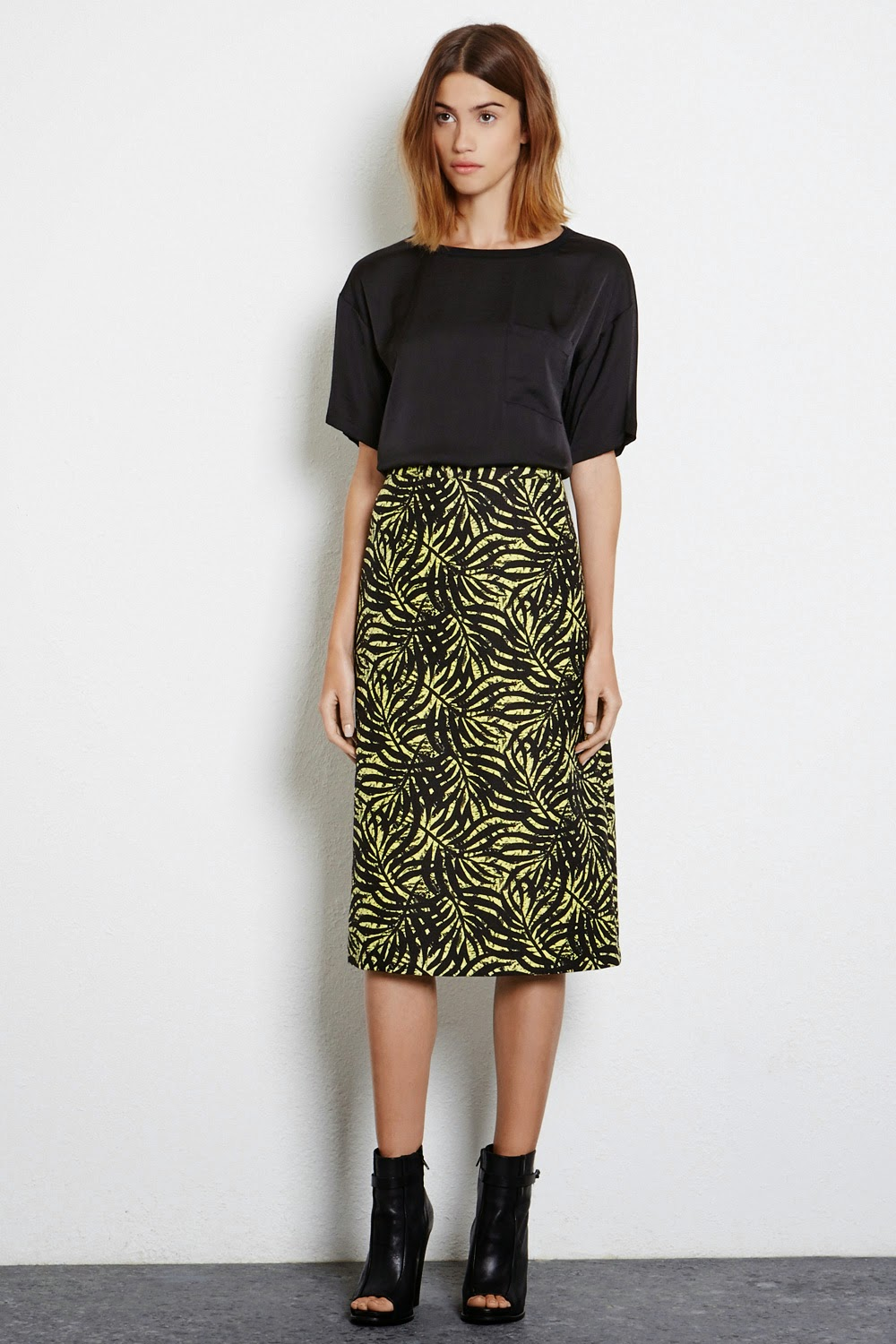 warehouse leaf print skirt