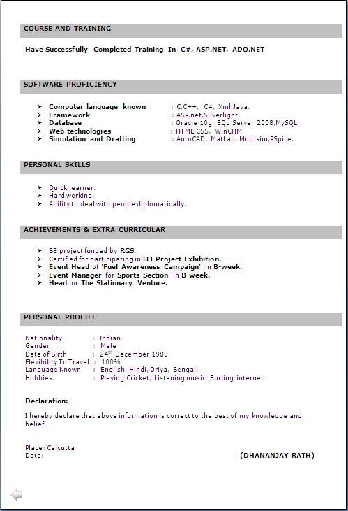 resume co b e it fresher resume sle free