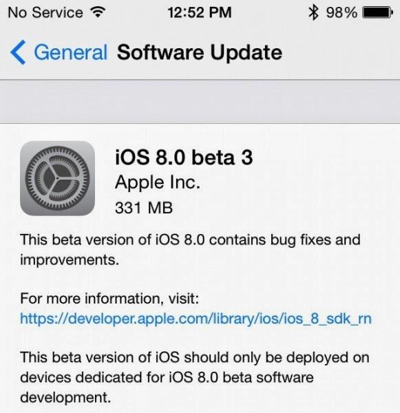 iOS 8 Beta 3 Hakkında