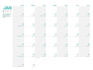 Julian 2013 calendar template