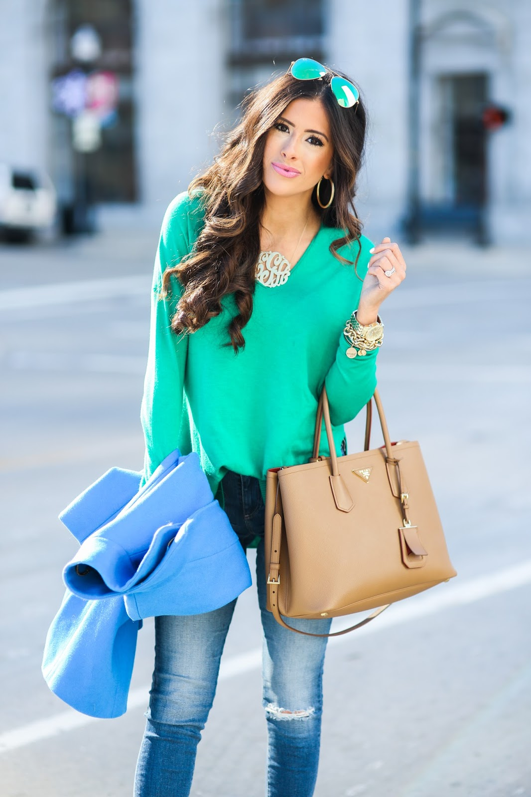 winter fashion pinterest, winter outfit idea pinterest, green trouve sweater nordstrom, AG jeans raw hem skinny jeans, oversized gold monogram, love always monogram, prada tan double tote, green mirrored ray ban aviators, cognac booties nordstrom, tan leather booties, how to style ripped jeans with tan booties, blue crew cocoon coat, brunette hair balayage medium length, brunette hair cut curls, david yurman statement rings, michael kors gold watch, david yurman alex ani bracelet stack, tulsa fashion blogger