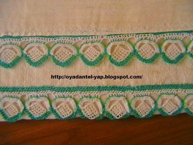 yeşil beyaz havlu danteli