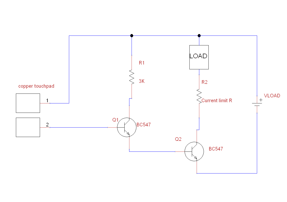 Make A Simple Touch Switch Using Bc547 For Led Relaybuzzer Current Sensing Relay Circuit Now This Above Is Tested Relays If You Connect Across The Load Put Limit Resistor Needed And Apply Vload Voltage