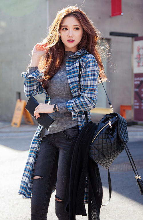 Kstylick Latest Korean Fashion K Pop Styles Fashion Blog Chuu Long Gartered Waist Plaid