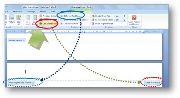 Gambar: Cara mengatur header dan footer  di Microsoft Word agar bisa berbeda di tiap halaman
