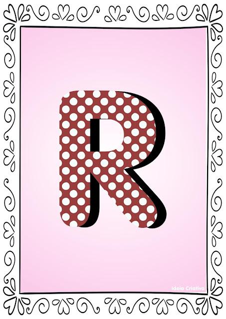 Alfabeto Poá Colorido com Borda Letra R