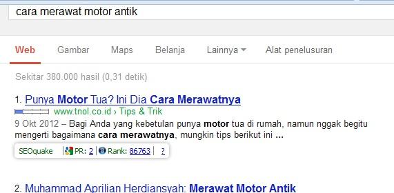 contoh hasil pencarian di mesin pencari