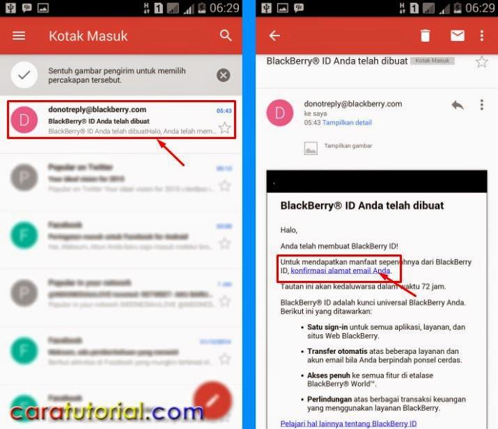 Konfirmasil Email Blackberry ID BBM