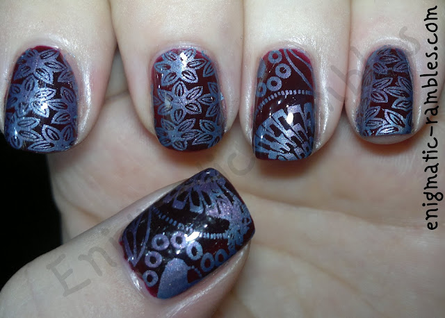 two-stamped-pattern-nails-Barry-M-Blue-BM211-bundle-monster-Chameleon-Damson-Delight-Jacava-M78