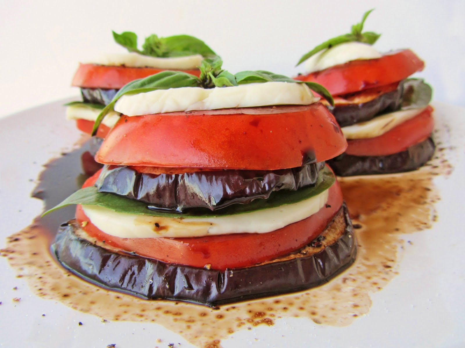 eggplant, tomato, mozzarella stacks