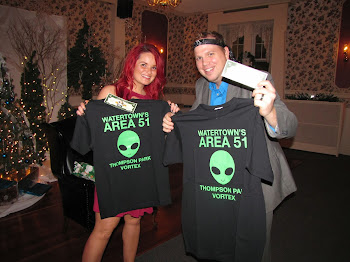 Radio Personality Bacon and Alicia Show Their New Vortex Shirts at Company Party