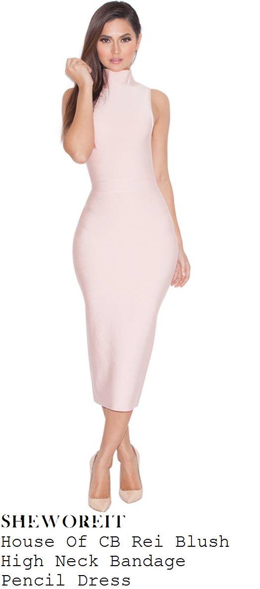 casey-batchelor-baby-pink-sleeveless-high-neck-bandage-midi-dress