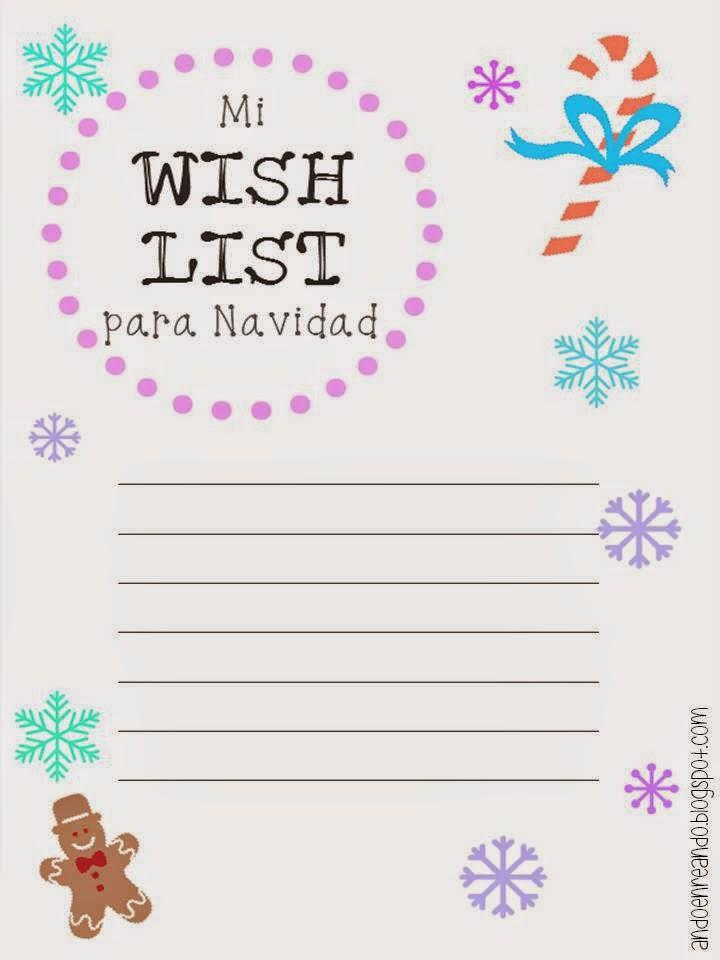 imprimibles navidad wish list gratis