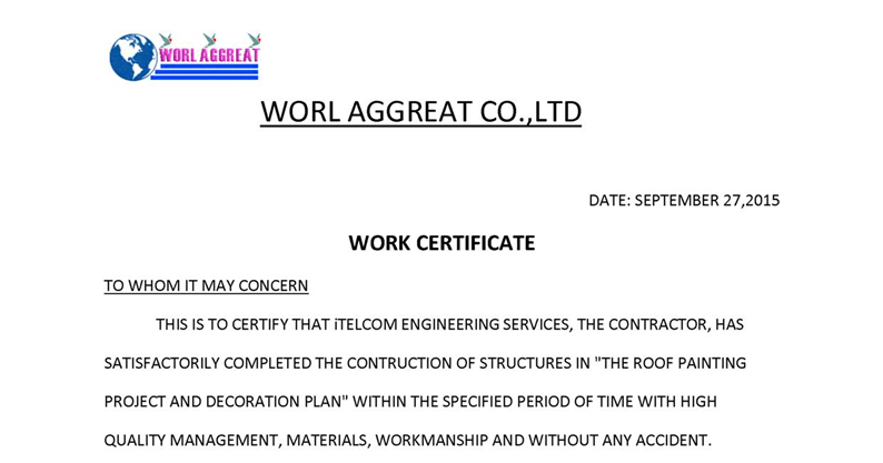 ... Letter : Work Experience Certificate | Format of Work Experience