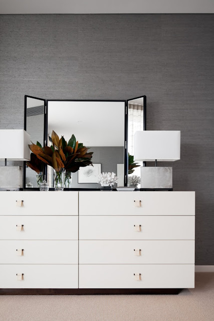 Photo of white furniture with the mirror in the bedroom