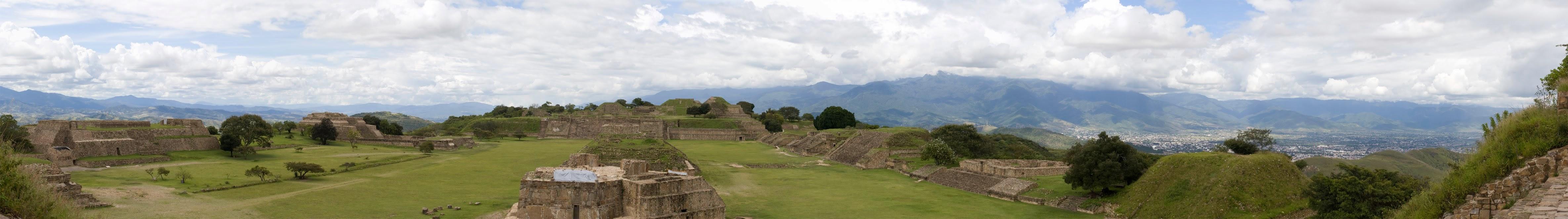 panorama monte alban ruins gran plaza