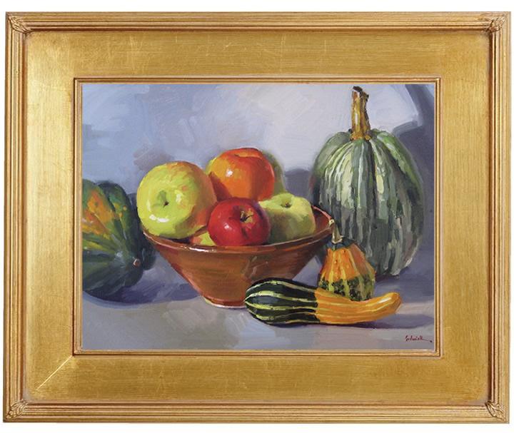 "Sedwick Studio Purple Bowl Of Plums Fruit Bowl Still: Sedwick Studio: ""Autumn Apples"" Fall Fruit Pumpkin Squash"